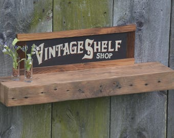 Thick Reclaimed White Oak Floating Shelf 33 x 7