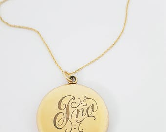 "Antique Victorian Gold Fill ""Ina"" Engraved Script Photo Locket Necklace"