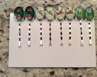 Platinum silver bobby Hair pin with oval glass flower Bird glue on 4 set 15 dollars only.