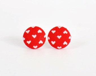 Red and White Heart Earrings. Handmade Fabric Button Earrings. Valentine's Day Earrings. Red Stud Earrings. Earrings for Girls.