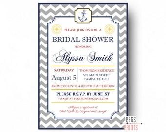 Nautical Bridal Shower Invite - Nautical Shower Invitation - Nautical Wedding Shower - Anchor Bridal Shower - Printable Navy Bridal Shower