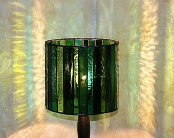 Green Stained Glass Lamp, Tiffany Lamp, Table Lamp