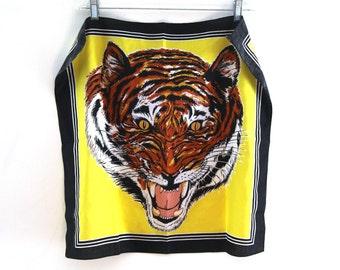 Vintage 80s tiger bandana yellow  black 90s