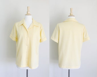 1970s Yellow Gingham Blouse | Large