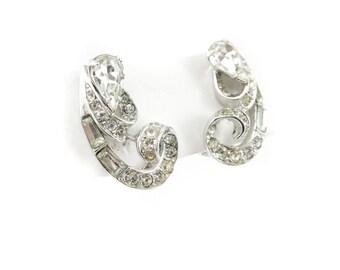 Vintage Rhinestone Earrings, Pear Shape, Baguette, Silver Tone, Clip Ons