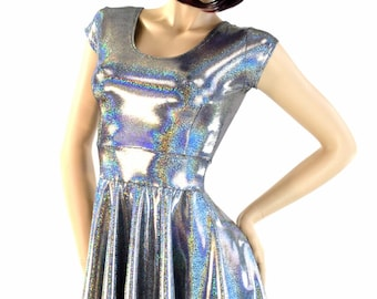 Silver Holographic Sparkle Darted Cap Sleeve Fit and Flare Skater Dress Rave Festival Clubwear-7945