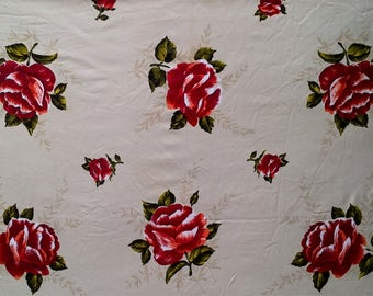 Vintage White Beige Black Red Rose Floral Print Rectangle Tablecloth - 46 X 58