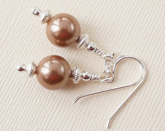 Brown shell pearl earrings, bronze shell earrings, bronze and silver earrings, gift for her, birthday gift