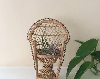 Mini Vintage Peacock Chair // plant holder, air plant, decor, doll chair, miniature, rattan, wicker, boho, bohemian, jungalow, retro