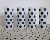 Vintage Polka Dot Glasses, Black Polka Dot Glasses, Frosted Polka Dot Glasses, Polka Dot Iced Tea Glasses, Polka Dot Highball Glasses, 1950s