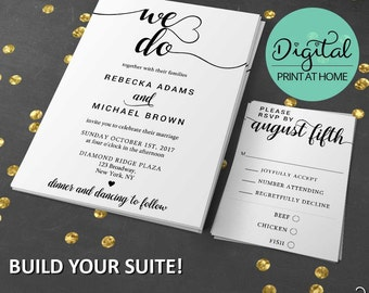 We Do Wedding Invitation, Wedding Invitation Suite, DIY Wedding, Digital Invitation, Tiered Insert Cards, Printable Wedding Invitation #8989