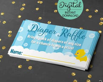Rubber Ducky Baby Shower Game, Diaper Raffle, Rub a dub dub, Baby Shower Digital, rubber duck, yellow duck, DIY, INSTANT DOWNLOAD #4986