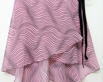 Pink and black striped ballet wrap skirt - Long