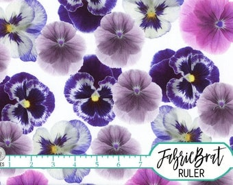 PURPLE PANSY Fabric by the Yard, Fat Quarter Big Pansey Floral Fabric Realistic Flowers Apparel Fabric 100% Cotton Fabric Quilt Fabric t1-16