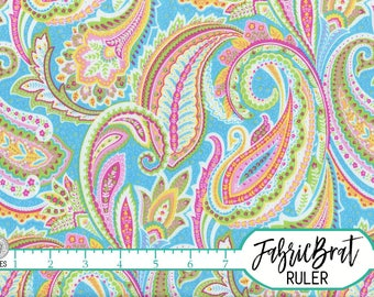 PINK & BLUE PAISLEY Fabric by the Yard, Fat Quarter Pink Green Orange Fabric Paisley Quilting Fabric Apparel Fabric 100% Cotton Fabric t2-9