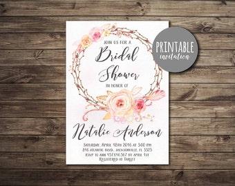Floral Bridal Shower Invitation Coral, Printable Bridal Shower Invitation Bohemian Pink & Peach Boho Bridal Shower Invitation Spring Summer