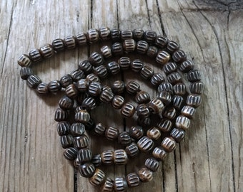 Bone Bead Rutted Corrugated Gourd Hand Carved - Wood  - Round - 5x4mm - Brown Waxed - Center Drilled - 12 Beads