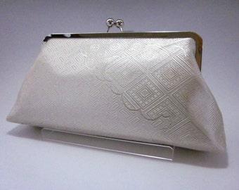 Silver Kimono clutch/ Vintage kimono bag/Geometrical pattern/hand made/14