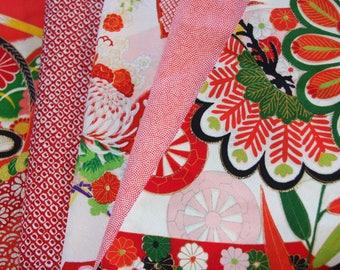 Red /Mix pack Kimono fabric/  Vintage Kimono fabric / 1-A