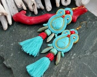 Turquoise Red Soutache Earrings-Long Tassel Turquoise Earrings-Ethnic Earrings-Hippie Boho Earrings-Statement Beaded Dangle Earrings