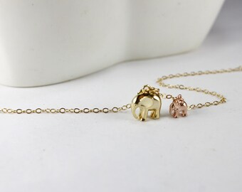 Gife for new mother.Gold Elephant jewelry. rose gold babe Elephant ,2 Elephant Jewelry.New mommy Necklace ,Gift for wife.Mom,Lucky elephant