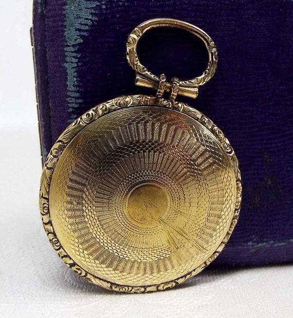 Antique Georgian Victorian Embossed Gold Gilt Glass Large Photo Locket Pendant