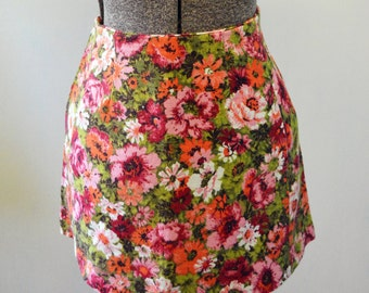 Vintage 1970's Floral Drill Micro Mini Skirt