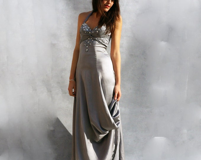 Grey Wedding Dress, Silk Wedding Dress, Boho Wedding Dress, Bridesmaid Dress, Bohemian Dress, Wedding Gown Beaded Wedding Dress Low Cut Back