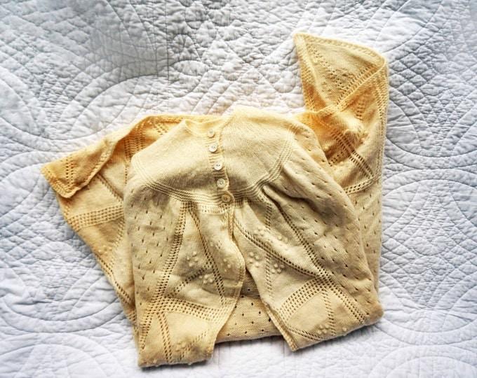Christening Gift, Hand Knitted Baby Shawl, Baby Shower Gift, Baby Gift, Baptism Gift, Godchild Girls, 1st Birthday GIft, Vintage 30s Shawl