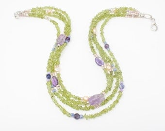 Peridot and Amethyst Necklace,  Multi Strand Necklace, Green Necklace, Gemstone Chips and Purple Amethyst, Valentines Gift, Mothers Day Gift