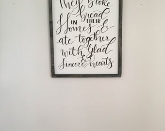 Custom Calligraphy Wall Art | Acts 2:46  | Hand Lettered | Handwritten Quote or Verse | 9x12