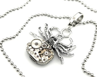 Halloween Spider Pendant -  clockwork spider pendant -  Tarantula Spider Necklace - Steampunk gift idea
