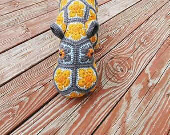 Crochet Hippo made from african flower motifs, Happypotamus, Stuffed hippo