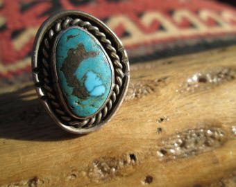 Native American Turquoise and Sterling Silver Ring Size 6.25