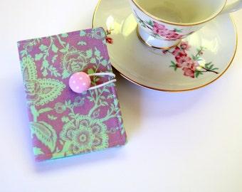 Tea Bag Wallet, Tea Caddy, Travel Tea Purse, Card Holder, Tea Holder, Teacher Gift - Floral Flowers on Lavender Purple, Tula Pink Fabric