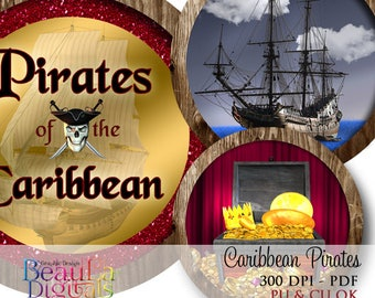 Pirates Caribbean Circles, Tags, Labels, Cupcake Toppers, Scrap book, Birthday Labels, Card makers, Instant download