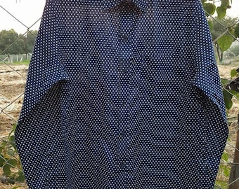 Man Long Sleeves Fitted Shirt made of Pure Cotton BLUE WHITE POLKA combo handmade  Print