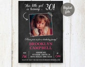 30th Birthday Invitations for her | Chalkboard Vintage Photo collage invitation for women wife best sister mother daughter  | DIGITAL!