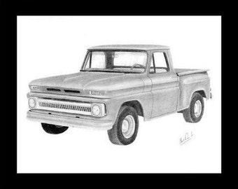Pencil drawing of a 1965 Chevrolet pick up