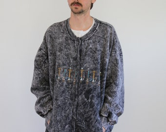 Acid Wash Southwest Cardigan Sweatshirt Womens XL