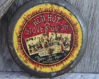 Rare Unopened Turn of the Century Red Hot Stove Polish Tin