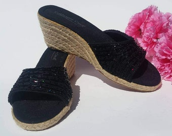 Black Wedges with Sequined Bands Size 7 Vintage 1980 Espadrilles  I Summer Beach Bohemian Gypsy Hippie Hipster Shoes I 80s 90s Shoes