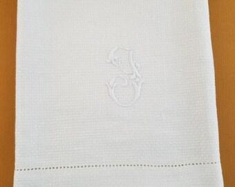 Vintage G or J Monogram Damask Towel  #30