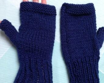 Royal Blue Gloves, Finger Free Gloves, Royal Blue Mittens, Ladies Blue Gloves, Women's Fingerless, Knitted Gloves, Fingerless Gloves