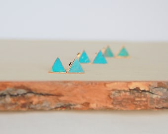 Blue Turquoise triangle stud earrings, Turquoise earrings, Stone studs, Modern jewelry, Small Earrings, Dainty Jewelry, Bridal Bridesmaid
