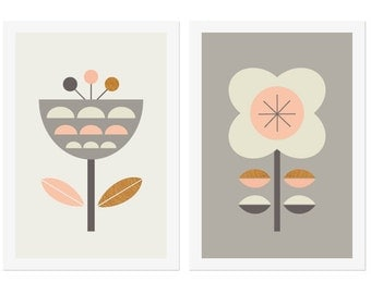 Scandinavian Flowers Series of two(Pinks and Greys.) Scandinavian, Scandinavian Art, Nordic style, Nursery art, girl room art, kids art.