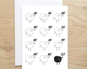 Black Sheep Card (funny cards - quirky cards - black sheep - cute cards - animal cards - blank cards - blank greeting card - handmade card)