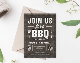 Printable Rustic BBQ Party Invitation - Cookout Party Invitation Template