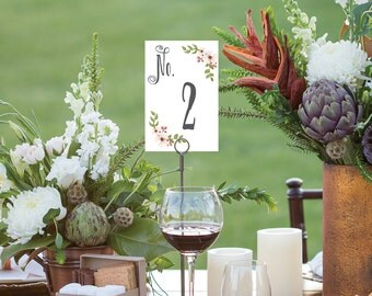 Table Numbers - Wedding Table Numbers - 4x6 Wedding Table Signs 1-40 - Reserved Sign - Head Table - Country Blooms White - Instant Download