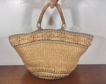 Woven Sisal Purse, Tan, Green, Boho Bag, Summer Purse, Earth Tones, Handbag